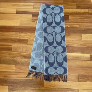 Coach Purple Wool and Cashmere Scarf